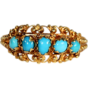 Antique Etruscan Revival Persian Turquoise Ring in 18k Gold, c. 1870