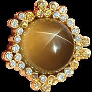Stunning Vintage Star Chrysoberyl and Fancy Diamond Ring in 18k Gold, Belonged to Montserrat C