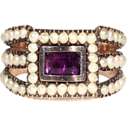 Stunning Georgian Pearl and Amethyst Ring, Pristine Condition, c. 1810