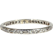 Vintage French Art Deco Diamond Eternity Band, Size 9