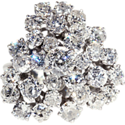 Vintage Diamond Bow Ring in 18k White Gold, French Retro 3.5+ctw