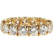 1950s 18k Yellow Gold Diamond Eternity Band Ring set with 3.3+ Carats Total Weight