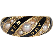"""Antique Victorian Pearl and Enamel """"In Memory Of"""" Memorial Ring in 18k Gold, c. 1860"""