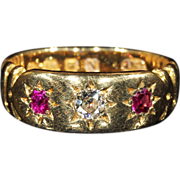 SOLD Antique Victorian 3 Stone Ruby and Diamond Ring in 18k Gold, Hallmarked 1887