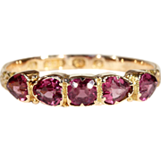 Fantastic Victorian Garnet Ring with Heart Shaped Stones, 15k Gold, Hallmarked 1865