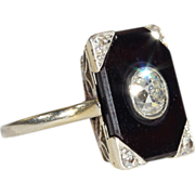 Antique French Diamond-Set Black Onyx Ring in Platinum
