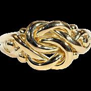 Antique Edwardian Love Knot Ring in 18k Gold, Hallmarked 1905