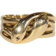 Vintage Man's Double Snake Ring with Diamond Eyes in 18k Gold, Size 11, Hallmarked 1937