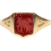 SALE Antique Carnelian Signet Ring in 18k Gold, Victorian c. 1890
