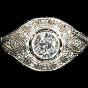 Vintage Art Deco Diamond Dome Ring in Platinum with .95 carat Center