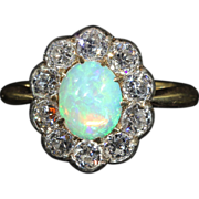 Antique Victorian Diamond and Opal Cluster Ring in 18k Gold and Silver, *VIDEO*