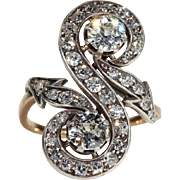 Antique French Diamond Toi et Moi Ring with Arrows, c. 1890 18k Gold and Silver, *VIDEO*