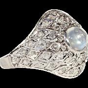 Vintage Art Deco Moonstone and Diamond Platinum Dome Ring