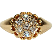 Classic Victorian Diamond Cluster Ring in 18k Yellow Gold
