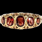 Lovely Vintage 5 Stone Garnet Ring in 9k Gold