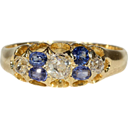 Antique Victorian Diamond and Sapphire Ring in 18k Gold, Hallmarked 1879