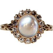 Antique Moonstone and Diamond Cluster Ring in 18k Gold