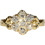 Stunning Lively Antique Diamond Cluster Ring with 1ctw in 18k Gold