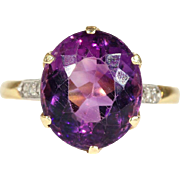 Vintage 6ct Amethyst and Diamond Ring in 18k Gold and Platinum, Hallmarked 1969
