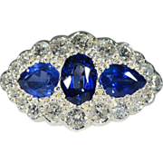 Vintage Sapphire and Diamond Unusual Cluster Ring, 18k and Platinum
