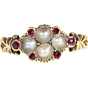 SALE PENDING Antique Georgian Pearl and Ruby Ring in 15k Gold, c. 1820