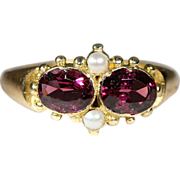 Antique 15k Victorian Garnet and Pearl Ring, Hallmarked Birmingham, England 1864