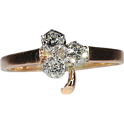 Antique Diamond Ring, Clover Shaped c. 1890