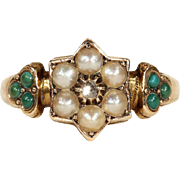 Antique Victorian Pearl, Diamond and Turquoise Forget-me-not Ring in 15k Gold