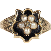 Antique Georgian Black Enamel Memorial Ring with Pearls and Diamond in 15k Gold