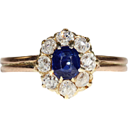 Antique Victorian Diamond and Sapphire Cluster Ring in 18k Gold