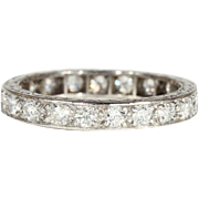 Vintage Diamond Eternity Band, Size 6.8 with 1ctw in 18k White Gold