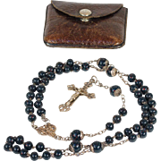 SOLD RESERVED Antique Sterling Silver and Bloodstone French Rosary, c. 1880 in Leather Pouch