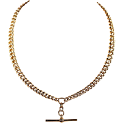 Antique 9k Gold Double Albert Watch Chain, 17.5 Inches Long