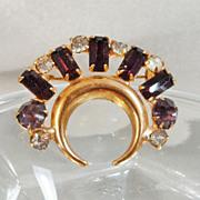 Vintage Amethyst Rhinestone Brooch Pendant Gold Plated Purple Crescent Half Moon Celestial