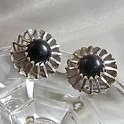 Vintage Sarah Coventry Earrings. Black Beauty. 1967. Atomic. Silver Tone.