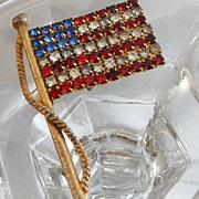 Vintage Flag Brooch. Red, White Enamel. Blue Rhinestones American Flag USA