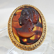 Vintage Florenza Brooch. Pendant. Brown Glass Tortoiseshell Cameo. Victorian Revival.