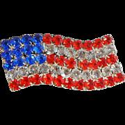 Vintage Flag Brooch. Red, Clear, Blue Rhinestones American Flag USA. Large Wavy Flag Pin.