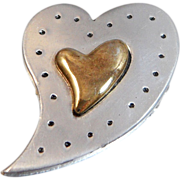 Vintage Heart Brooch. Pewter. Brass. Abstract Heart Pin.