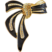 Vintage Bow Brooch. Large Ribbon. Rhinestones. Gold Tone and Black Enamel Pin.