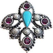 Vintage Turquoise Purple Rhinestone Pendant. Sarah Coventry Imperial Collection. Faux Turquois