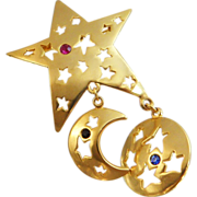 Vintage Star Brooch. Gold Tone Five-Point Star Dangling Sun Moon Pin with Rhinestones. ...