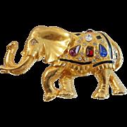 Vintage Rhinestone Elephant Brooch. Large Black Enamel Bejeweled Elephant Pin. Lucky Trunk Up.
