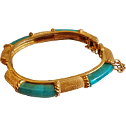 Vintage Brushed Gold and Faux Green Jade Bracelet. Gold Plated. Hinged Clamper. Lucite ...