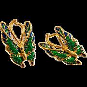 Vintage Blue Green Enamel Butterfly Earrings. Large Gold Tone Butterfly Pierced Earrings.