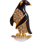 Vintage Rhinestone Penguin Brooch. Black Enamel Rhinestone Penguin Pin. Jeweled Bird Brooch.