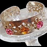 Vintage Pink Rhinestone Silver Snowflake Cuff Bracelet. Filigree Silver Plated Cuff Bracelet .