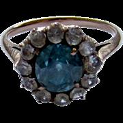 SALE Vintage 9K Rose Gold Aquamarine and White Paste Cluster Halo Ring