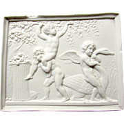 SALE Antique Bing & Grondahl Parian Bisque Royal Copenhagen Plaque Cupid Cherubs Putti Swan