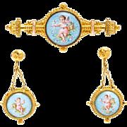 SALE Antique Victorian Etruscan 10K Enamel Cherub Demi Parure Brooch Earrings